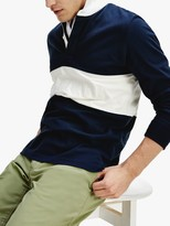 Tommy Hilfiger Colour Block Rugby Polo Shirt, Desert Sky/White