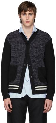 Junya Watanabe Navy and Black Wool Stripe Tuck Cardigan