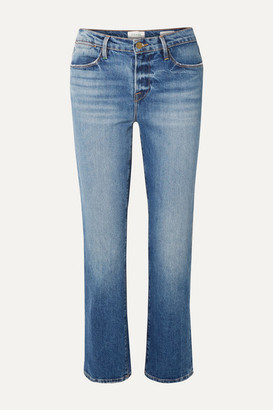 Frame Le High Distressed Straight-leg Jeans - Mid denim