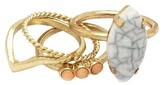 Women's 4 Row Coral and White Size 7 Ring Gold