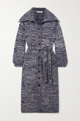 Frame Belted Melange Wool-blend Cardigan - Navy