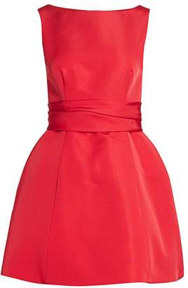 Brandon Maxwell Sleeveless Silk Sash Bubble Dress