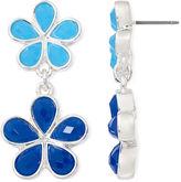 Liz Claiborne Blue Stone Silver-Tone Double-Drop Earrings