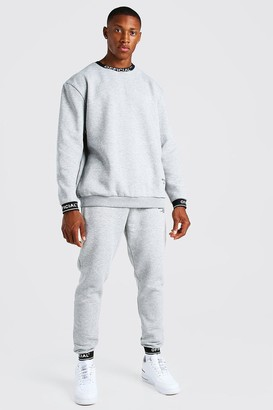 boohoo Mens Grey Man Waistband Detail jumper Tracksuit, Grey