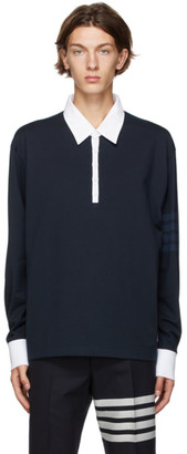 Thom Browne Navy 4-Bar Rugby Long Sleeve Polo