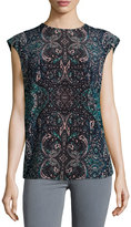 See by Chloe Mosaic-Print Cap-Sleeve Blouse, Blue