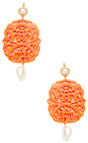 Kenneth Jay Lane Carved Resin & Double Pearl Statement Earrings