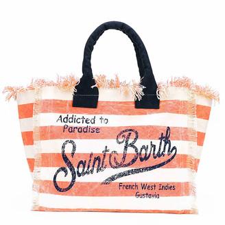 MC2 Saint Barth Orange Striped Canvas Bag