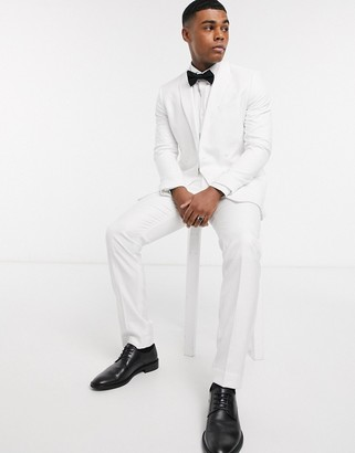 Topman skinny fit suit trousers in white