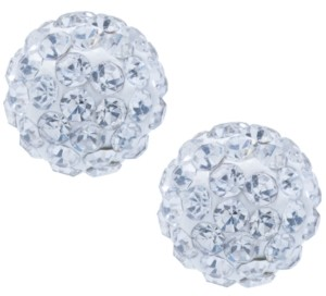 Giani Bernini Crystal 8mm Pave Earrings in Sterling Silver. Available in Clear, Blue, Light Blue or Multi