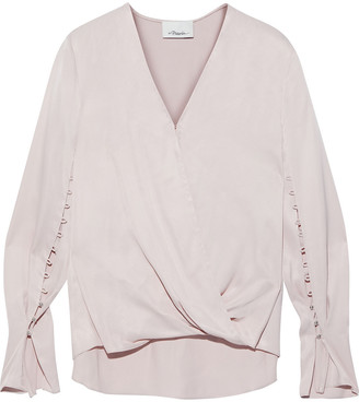 3.1 Phillip Lim Wrap-effect Button-detailed Satin Blouse