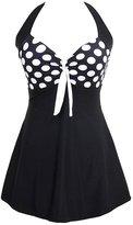 Imixshop Womens Vintage Sailor Halter Pin Up Swimwear Tankini Bathing Suit Beach Swimdress (, Polka Dot)