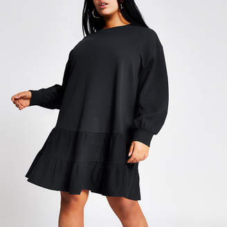 River Island Plus navy mini smock sweatshirt dress