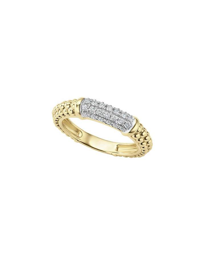 Lagos 3mm 18k Gold Caviar Stack Ring with White Diamonds, Size 7