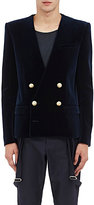 Balmain Men's Velvet Double-Breasted Sportcoat-NAVY