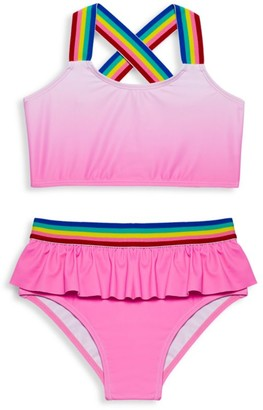 Andy & Evan Little Girl's & Girl's 2-Piece Ruffle Rainbow Striped Bikini Set