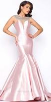 Mac Duggal Illusion Open Back Beaded Satin Mermaid Dress