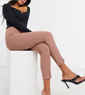 ASOS DESIGN Petite stretch slim split-front suit pants in blush
