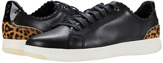 Cole Haan Grandpro Tennis Scalloped Lace-Up (Black Leather/Mini Ocelot Leapard Print) Women's Shoes