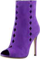 Gianvito Rossi Suede Diamond-Cutout Peep Ankle Boot, Violet