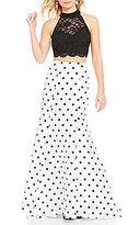Jodi Kristopher Glitter Lace Open-Back Top High-Waist Polka-Dot Trumpet Skirt Long Two-Piece Dress
