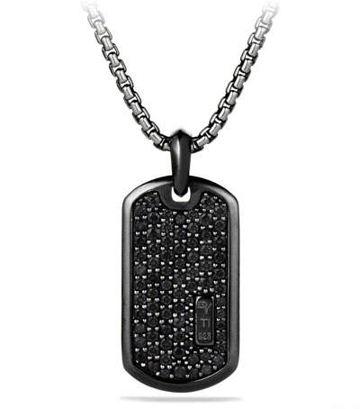 David Yurman Men's Titanium & Sterling Silver Pave Tag with Black Diamonds