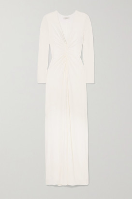 Halston Ruched Stretch-jersey Gown - White