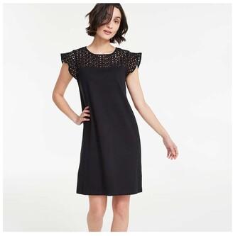 Joe Fresh Women's Eyelet Yoke Dress, JF Black (Size S)