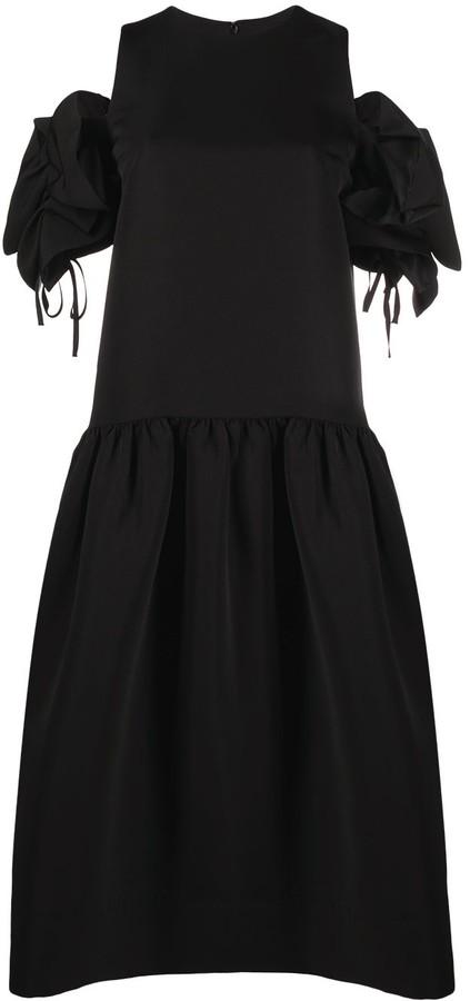 Victoria Victoria Beckham Dropped-Hem Dress With Ruffle-Shoulder Detail
