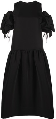 Victoria Victoria Beckham Dropped-Hem Dress With Ruffle-Shoulder Detail