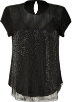 L'Agence LAgence Black Embellished Silk Top with Cami