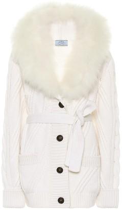 Prada Fur-trimmed cashmere cardigan