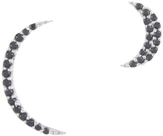 Adornia Fine Sterling Silver Mismatched Pave Black Spinel Moon Stud Earrings
