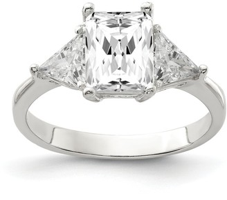 Sterling Silver High Polished White Cubic Zirconia 2mm Ring by Versil