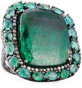 Bavna Square Emerald & Pave Diamond Cocktail Ring, Size 7