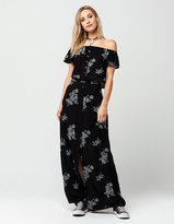 Full Tilt Two Piece Embroidered Crop Top And Maxi Skirt Set