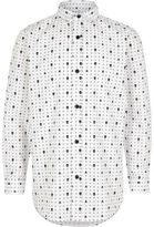 River Island Boys white skull print smart shirt
