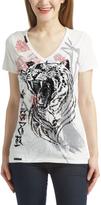 Rebel Spirit White Tiger V-Neck Tee - Women