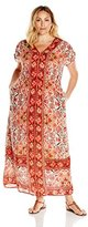 Lucky Brand Women's Plus-Size Scarf Print Maxi Dress