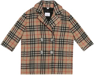 BURBERRY KIDS Vintage Check alpaca-blend coat