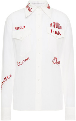 Victoria Victoria Beckham Embroidered Woven Shirt