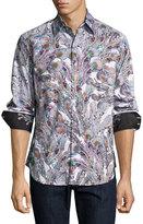 Robert Graham Goa Feather-Print Sport Shirt, Multicolor