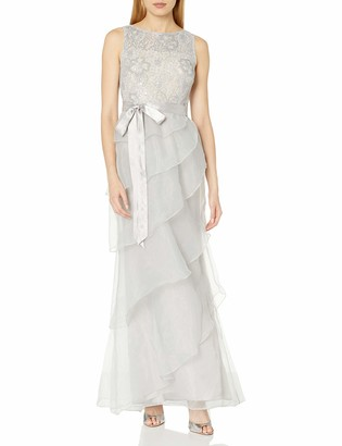 Adrianna Papell Women's Sequin Lace and Organze Sleevless Ruffle Gown