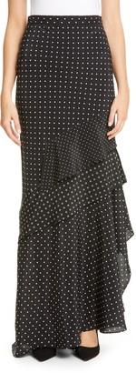 Max Mara Navata Polka Dot & Floral Silk Crepe de Chine Maxi Skirt