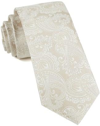 Tie Bar Twill Paisley Light Champagne Tie