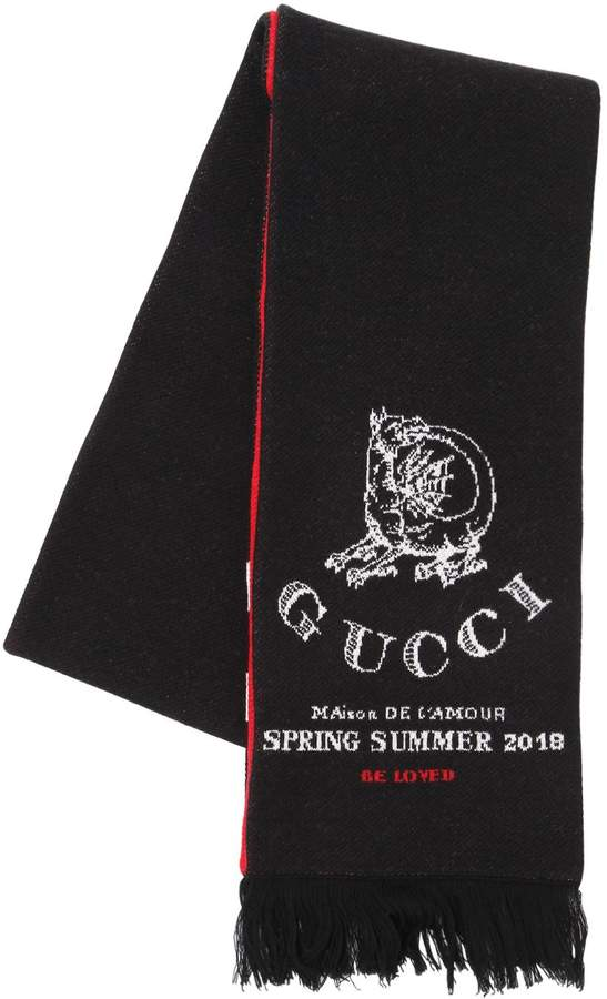 Gucci Dragon Wool Jacquard Scarf