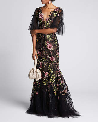 Marchesa Ribbon Lace Plunging V-Neck Gown