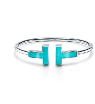 Tiffany & Co. T wide turquoise wire bracelet in 18k white gold, small