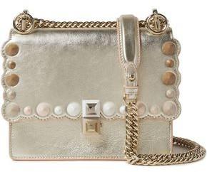 Fendi Kan I Small Studded Metallic Leather Shoulder Bag
