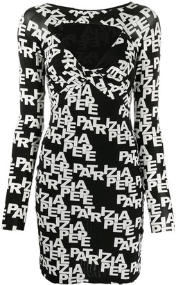 Patrizia Pepe All-Over Logo Print Fitted Dress